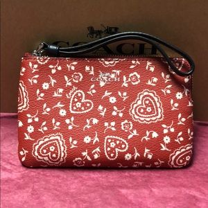 NWT Coach red lace Wristlet w/ gift box